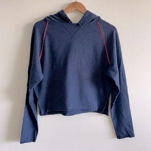 Lululemon NWOT super cute crop style hoodie, navy blue with orange piping sz 6
